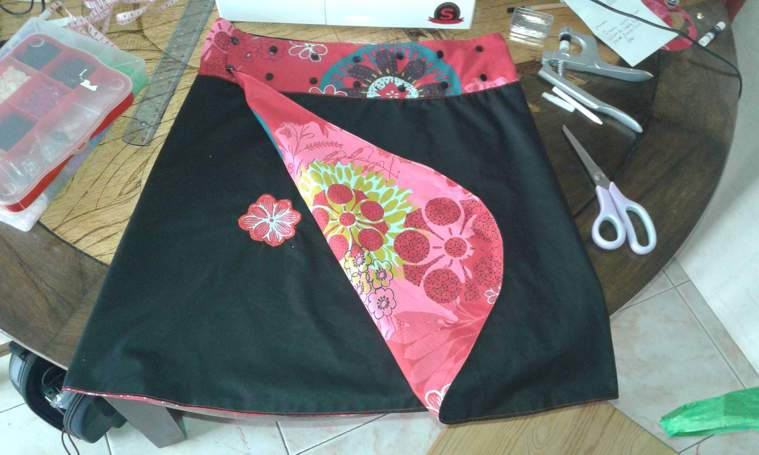 tuto couture jupe portefeuille reversible