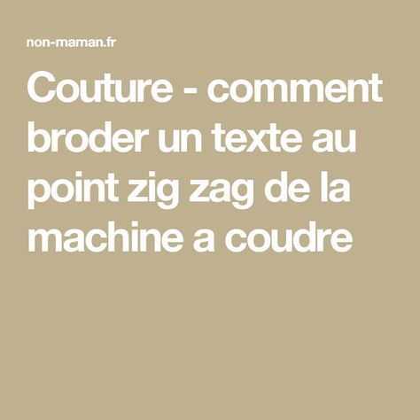 tuto couture point zig zag