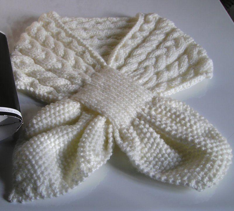 tuto tricot echarpe feuille