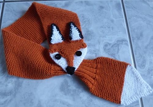 tuto tricot echarpe renard