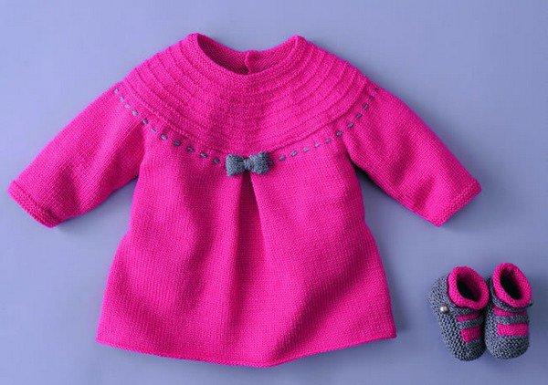 tuto tricot robe layette